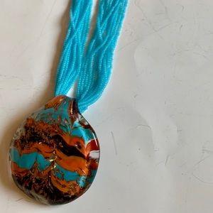 Reverse Murano Glass Perini Layered Bead Necklace